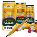 36 pc. Yellow Classic Pencils (Sharpened) w/top Eraser Wood Free by Imperial