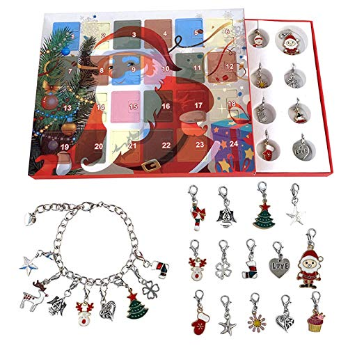 xiaoxian Christmas Advent Calendar 2020 Christmas Countdown Calendar Charms with Bracelet Necklace Set, Fashion Jewelry for Kids, DIY Charm Bracelet Gift Box for Girls