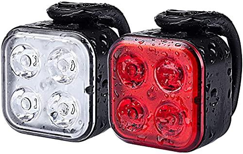 Mantimes Juego de luces de bicicleta recargable, luces delanteras y traseras, luces de bicicleta