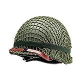 Réplica WW2 US M1 casco verde, con protección de malla, ajustable por barbilla/lona