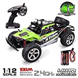 QQPOW RC Car 4x4 32MPH High Speed 1/12 Scale Remote Control Desert Monster Truck Road Car Big Foot 4WD Electric Power 2.4GHz Remote Control (Green)