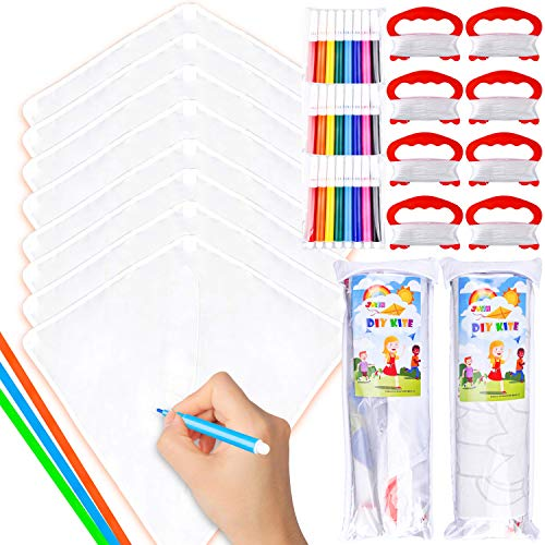 JOYIN 8 Packs DIY Blank Diamond Kite with Watercolor Pens and Kite String, Decorating Coloring Kite, Kids Kite Making Craft Kits, Large Beach Kite Easy to Fly Kite for Outdoor Games and Activities