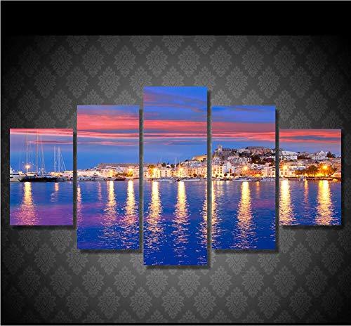 sxkdyax Sin Marco Fotos de Lienzo Wall Art Prints Posters 5 Unidades Hermosa Isla de Ibiza Noche Eivissa Vista al Mar Pinturas Decoración para el hogar