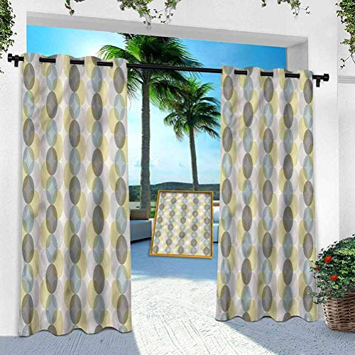 Aishare Store Indoor Outdoor Curtains, Circle,Fifties Midcentury Design, 100' x 84' Outdoor Pergola Curtains Patio Blackout Drapery for Front Porch/Sunroom(1 Panel)