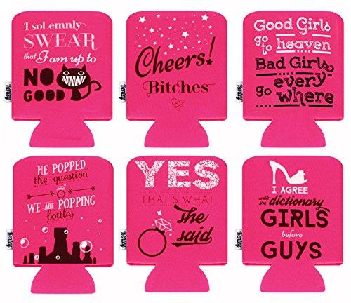 Can Beer Cooler - Pack of 6 Cans Drink Beverage Soda Bottle Ice Cold Coolie Insulator - Hen Bachelorette Party Funny Joke Gag Gift Set - Pink