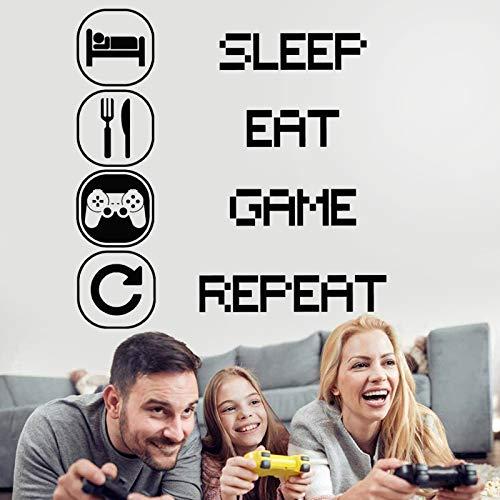 Eat Sleep Kinderzimmer Wandaufkleber,Wandsticker Kunst Gaming,Jungen Schlafzimmer Aufkleber,Gamer Aufkleber,Gamer aufkleber wand,Controller Wand Aufkleber,Wand-Dekor Gamer,Wandtattoo gamer junge