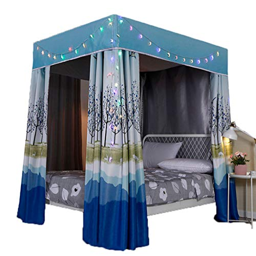 %18 OFF! Homepingnew 95% Lightproof 4 Corner Post Bed Curtain Canopy;Windproof Bed Canopy Mosquito N...