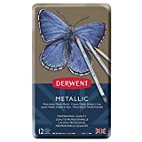 Derwent Metallic - Pack de 12 lápices (estuche de metal, solubles en agua), multicolores