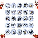 abbx 24 Botones de Calendario de Adviento,Navidad Chapas Nú