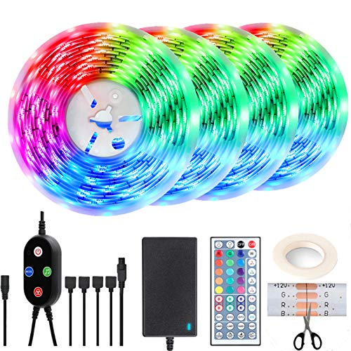LED Strip Lights 55FT/17M for Infrared Sync Music TV, Bedroom, Kitchen Under Counter, Under Bed Illumination Family Atmosphere DIY Strip Light