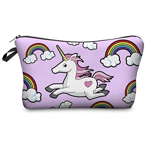 Trousse de maquillage Fringoo® pour femme - Petite trousse de toilette imprimée avec licorne - Organisateur de pinceaux à maquillage Pink Unicorn Rainbow - Make Up Bag L23 x H14 x W8 cm