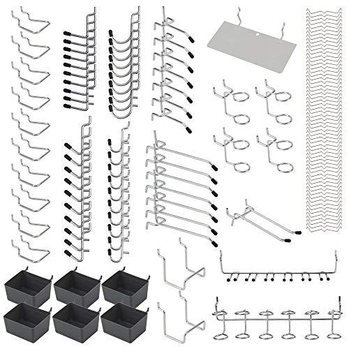 Pegboard Hooks Assortment 140 PCS, Pegboard Accessories Pegboard Bins,Peg Board Wall Hooks, Pegboard Tool Organizer, Pegboard Kit, Peg Hooks with Metal Hooks Set for Organizing Tools