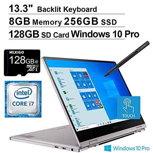 2020 Samsung_Notebook 9 Pro 13 FHD 1080P Touchscreen 2-in-1 Laptop| Intel Core i7-8565U up to 4.6GHz| 8GB RAM| 256GB SSD| Backlit KB| Win10 Pro + NexiGo 128GB MicroSD Card Bundle