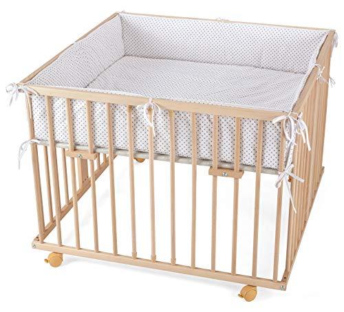 WALDIN Baby Laufgitter Laufstall ca. 100x100 BUCHE MASSIV, höhen-verstellbar, 2 Modelle wählbar,Buche Massiv-Holz natur unbehandelt, Stoff Punkte grau