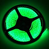 FAVOLCANO LED Strip Light Green IP65 Waterproof 12V DC SMD 3528 600 LEDs 120Leds/M 16.4 ft/5M Flexible LED Tape for Home Kitchen Bedroom Decoration (Adapters or Connector NOT Included)