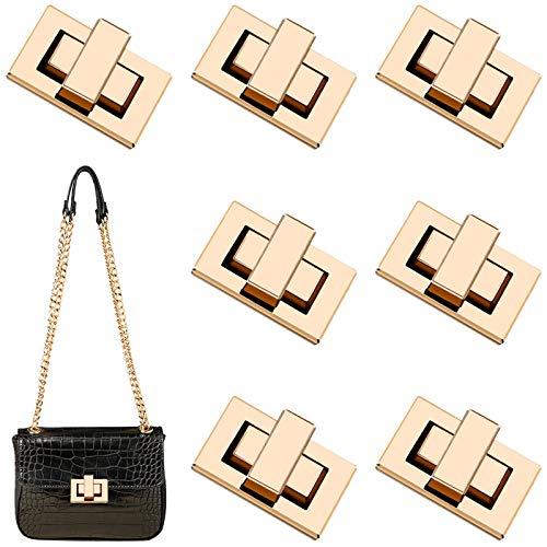 Taschenverschluss 7Pcs Metall Drehverschluss Geldbörse Sperre Geldbörse Push Lock Set Taschen Twist Turn Lock für Handtaschen,Geldbeutel,Damen Taschen (Gold)
