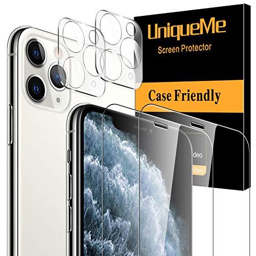 UniqueMe - Protector de pantalla compatible con iPhone 11 Pro Max (6,5 pulgadas) [no para iPhone 12 Pro Max], 2 unidades de vidrio templado y 2 unidades de protector de lente de cámara 9H dureza transparente [sin burbujas]