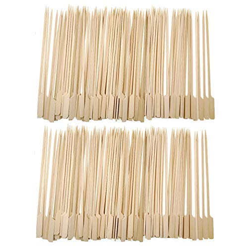 JZK 200 palitos de bambú para barbacoa de 21 cm de largo, para malvaviscos, pollo, satay, kebabs, sándwich, canapés y frutas.