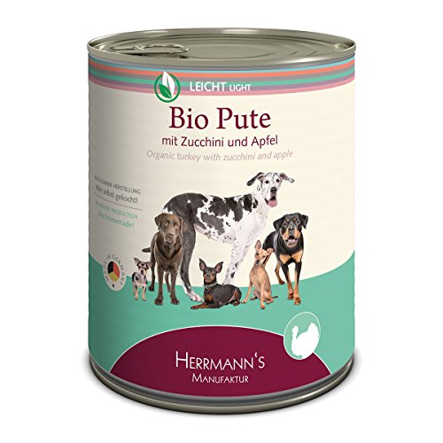 Herrmann Dose Leicht Bio-Pute Apfel, Salat, Topi, Zucchini, Sellerie, Leinöl, 6er Pack (6 x 800 g)