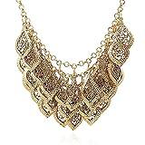 YAZILIND Vintage Gorgeous Multilayer Chapado en Oro Deja Collar de Cadena Collar Babero Temperamento