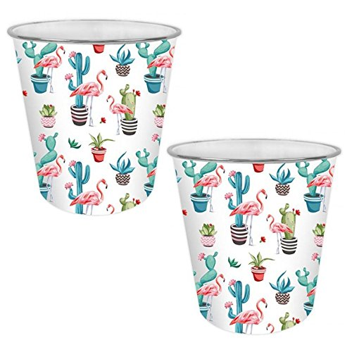 YoL Papierkorb mit buntem Design, niedliches Design, für Zuhause, Büro, Kunststoffkorb – Lama oder Flamingo Flamingo X 2