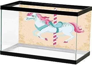 bybyhome Photo Decoration Horse Decor,Vintage Carousel Horse Childhood Circus Joyful Amusement Park Girls Nursery,Multicolor Fish Tank Decorative
