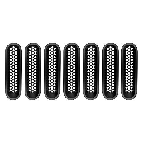 Hooke Road Matte Black JK Front Grill Mesh Inserts, Clip-in Deflector Guard for Jeep JK Wrangler & Unlimited 2007-2015