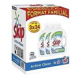 Skip Lessive Liquide Active Clean x102, Résultats impeccables même en cycle court, Format Familial 102 lavages,(Lot de 3x34 Lavages)