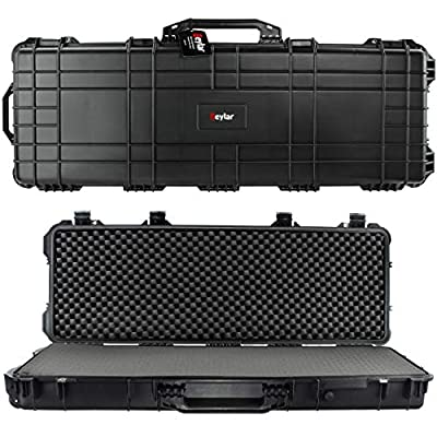 Eylar 44 Inch Protective Roller Tactical Rifle Hard Case with Foam, Mil-Spec Waterproof & Crushproof, Two Rifles Or Multiple Guns, Pressure Valve with Lockable Fittings Black