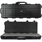 Eylar 53' Inch Protective Roller Tactical Rifle Hard Case with Foam, Mil-Spec Waterproof & Crushproof, Two Rifles Or Multiple Guns, Pressure Valve with Lockable Fittings Black