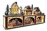 Wichtelstube-Kollektion LED Holz Lichtersockel mit Timer Schwibbogen Weihnachtsdorf im Erzgebirge Podest Schwibbogenunterbank