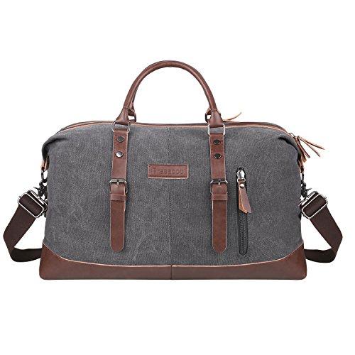 PRASACCO Weekender Reisetasche Multifunktion Umhängetasche Handgepäck Schultertasche für Wochenende aus PU Leder Retro Canvas Sporttasche Travel Duffel Bag Canvas Bag...