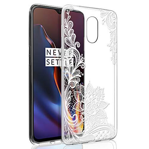 ZhuoFan Oneplus 6T Hülle, Schutzhülle Silikon Transparent mit Muster Motiv Handyhülle Ultra Dünn Slim Stoßfest Weich TPU Bumper Hülle Backcover für Oneplus 6T Smartphone (Weiße Blume)