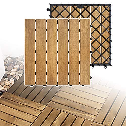 LZQ Holzfliesen aus Akazien Holz, 30 x 30cm 11er Set für 1 m², Garten-Fliese Bodenbelag mit Drainage, Klick-Fliesen für Garten Terrasse Balkon (Model A, 11 Stück | 1m²)