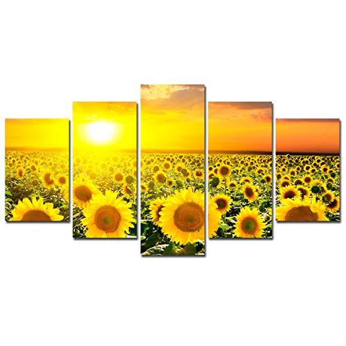 Azul Vermelho CYAN Girassol decoração de tela arte de parede - Pôster de paisagem de flores pôr do sol decoração de casa para sala de estar emoldurada pintura de tela 5 painéis fotos modernas, Antiguidade, Sunflower-a, 8x12inx2p 8x16inx2p 8x20inx1p Framed