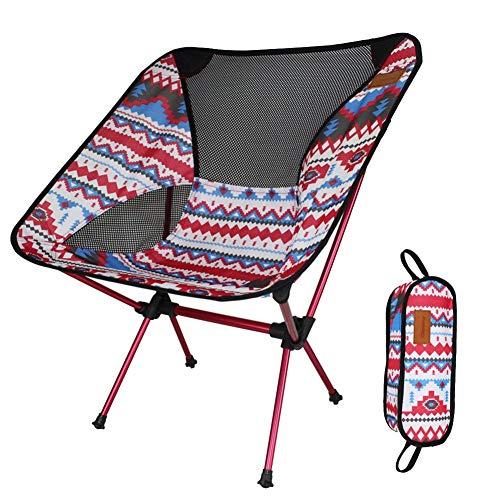 YLCJ Draagbare stoelen gekleurde outdoor vouwen lichtgewicht aluminium legering campingstoelen ligstoel stoel stoel zware dienst met transport camping tas Rood