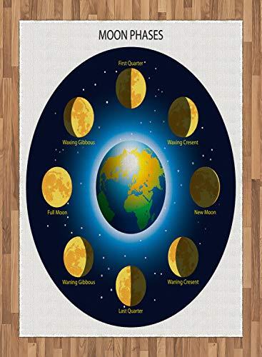 ABAKUHAUS Educativo Alfombra de Área, Fases De La Luna, Tejida Acento Decorativo para Sala de Estar o Dormitorio, 160 x 230 cm, Azul Añil Mostaza