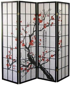 Roundhill Furniture Japanese Plum Blossom 4 Panel Room Divider