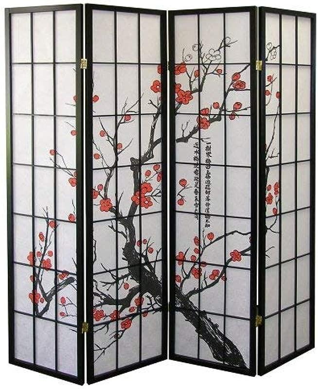 Roundhill Furniture Black Japanese 4 Panel Screen Room Divider Plum Blossom