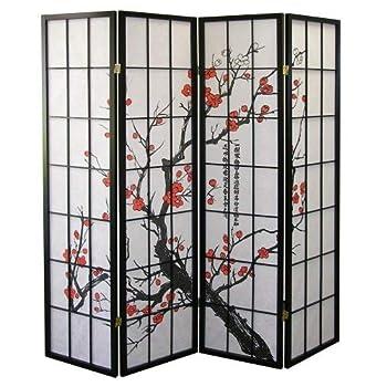 Roundhill Furniture Black Japanese 4-Panel Screen Room Divider Plum Blossom
