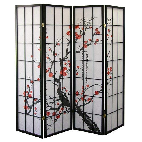 Roundhill-Furniture-Black-Japanese-4-Panel-Screen-Room-Divider-Plum-Blossom