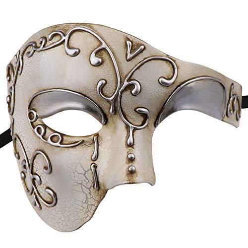 Thmyo Fantasma clásico de la Cara de los Hombres de la Mitad del diseño de la Vendimia de la máscara Veneciana del Carnaval de la ópera del Fantasma (Beige)