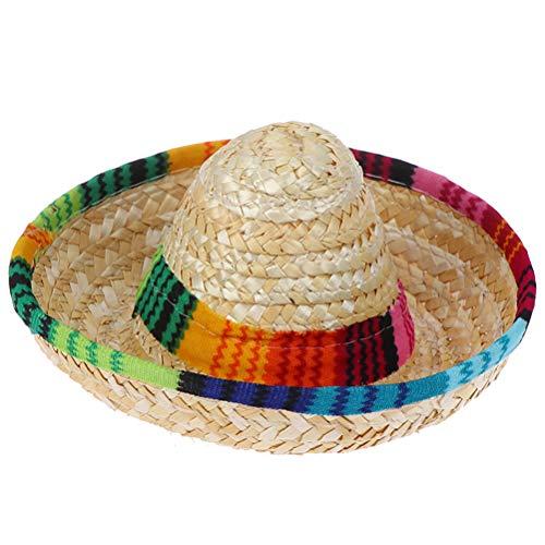 TUANTUAN 1 sombrero de paja natural para mascota, sombrero de paja para perros mexicanos, sombreros de fiesta para mascotas pequeñas/cachorros/gato.