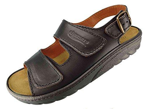Algemare Herren Sandalette Nappaleder Algen-Kork Wechselfußbett waschbar 7618_0101 Trekking Sandale Fußbettpantolette, Größe:39 EU