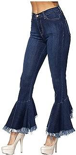 VIGVOG Women's High Waist Asymmetric Tassel Flared Slit Denim Jeans Pants