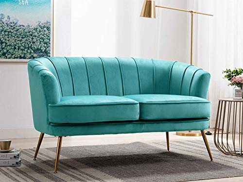 Altrobene Loveseat Sofas, Modern Club Couch with Golden Finished Metal Legs, Velvet Upholstered, Curved Tufted Armchair, for Living Room/Bedroom/Home Office, Dark Teal