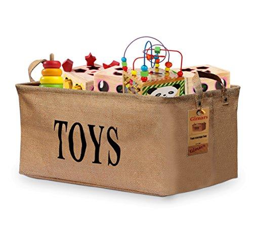 Gimars 20 zoll Spielzeugkiste Spielzeug Aufbewahrungskiste Spielzeugbox Jute faltbar Aufbewahrungsbox