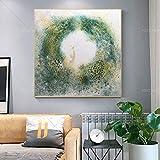 N / A Peinture sans Cadre Haute qualité Jaune Blanc Fleurs Jaunes Bleu Argent Abstrait Art Toile Peinture à l'huile20X20cm