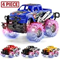 4 Pack Mapixco 4 Colors Light Up Monster Truck Set