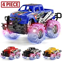 4-Pack Mapixco Light Up Monster Truck Set with Flashing LED Wheels